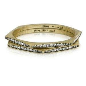 NEW Chloe + Isabel Medina Hexagon Pavé Bangle Set